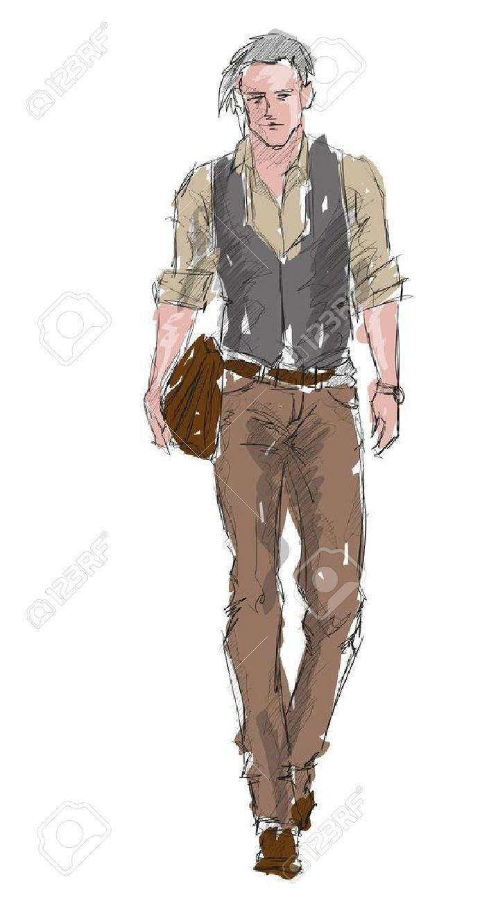 Sketch  Handsome stylish man showcasing street fashion Stock Vector - 16016474