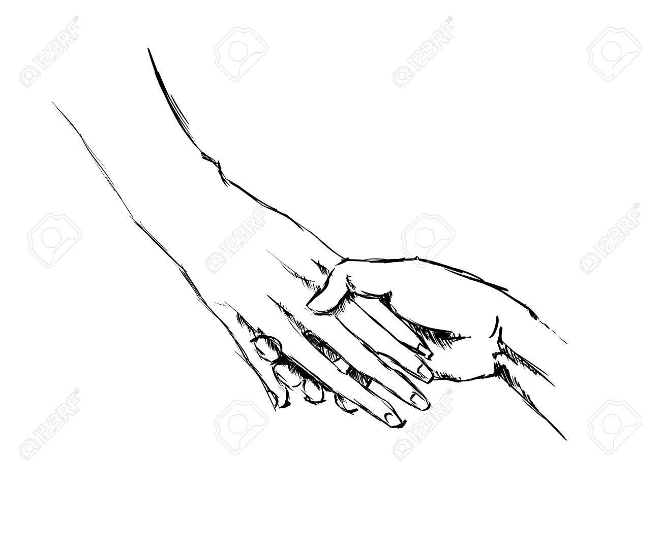 Hand sketch holding hands on a white background stock vector 42872437