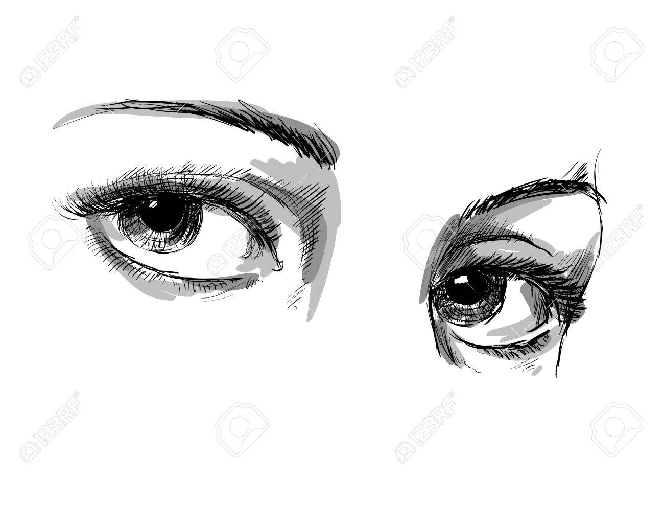 Hand Drawing Eyes On A White Background Vector Illustration Royalty