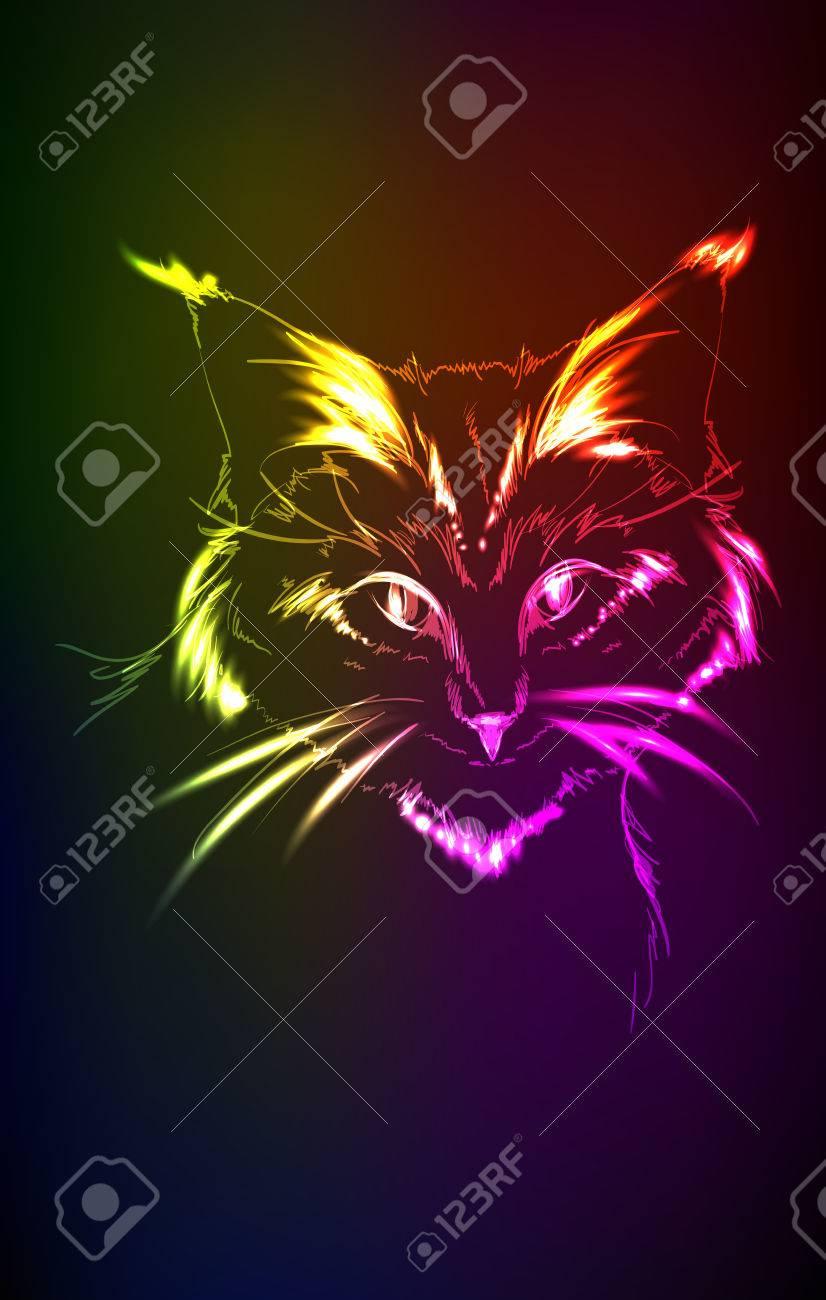 Retrato De Neón Del Gato Sobre Un Fondo Oscuro