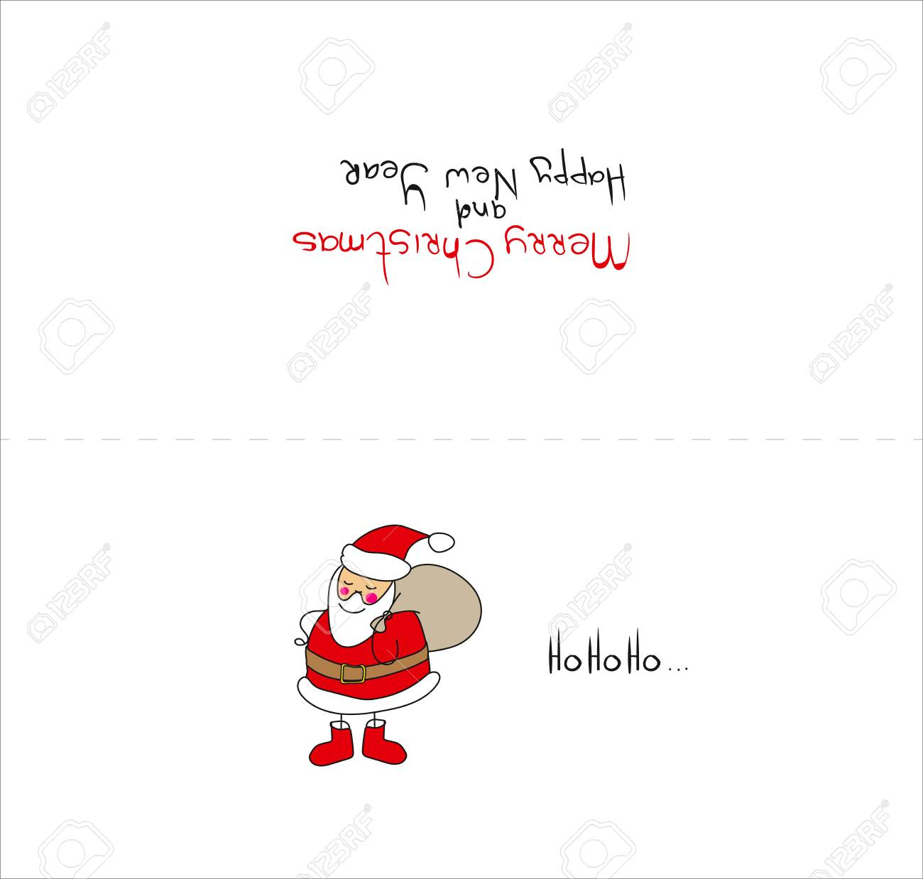vector vector christmas card template christmas card with santa claus in the style of childrens drawing