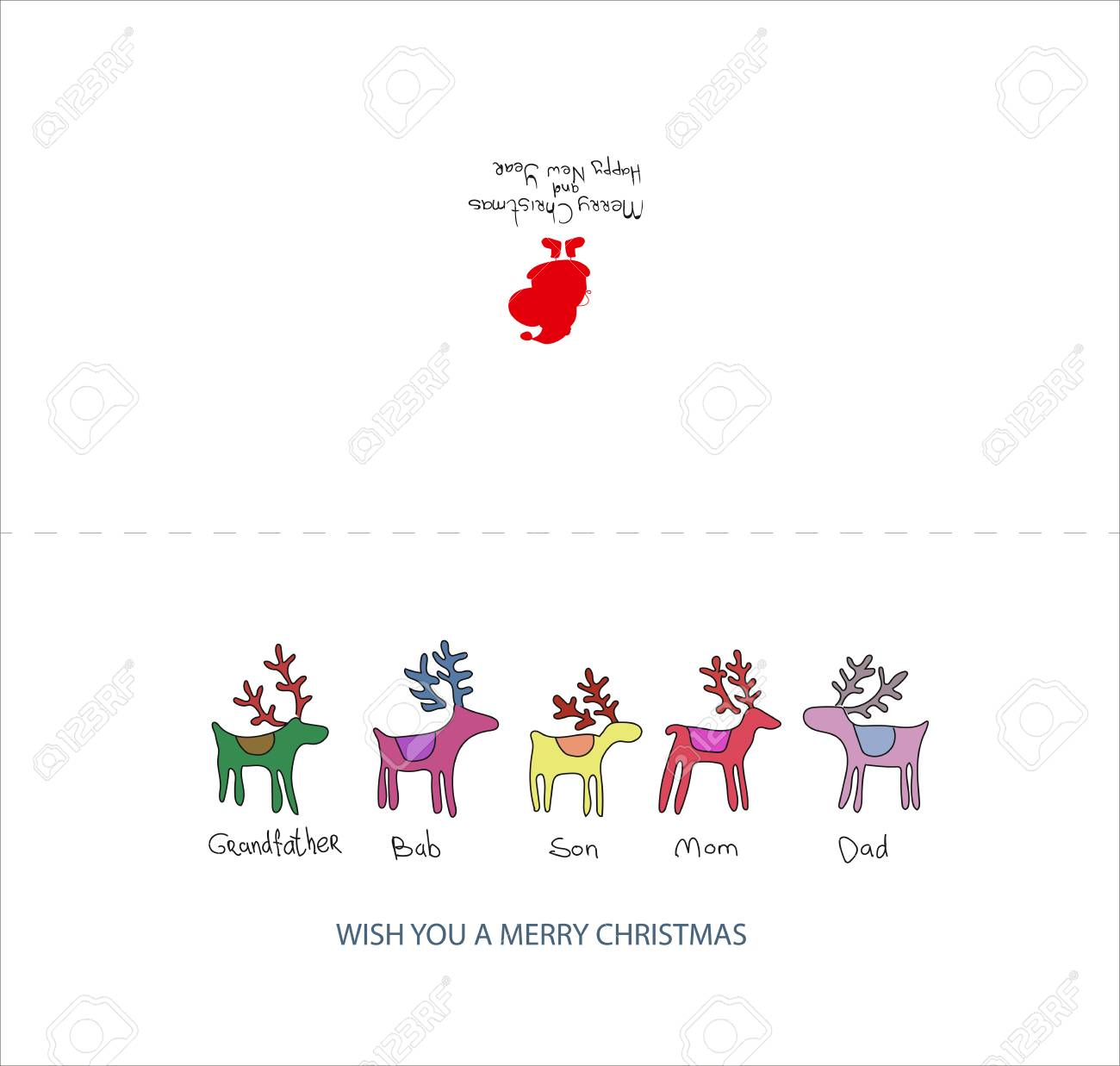 vector vector christmas card template christmas card with a family of deer in the style of childrens drawing