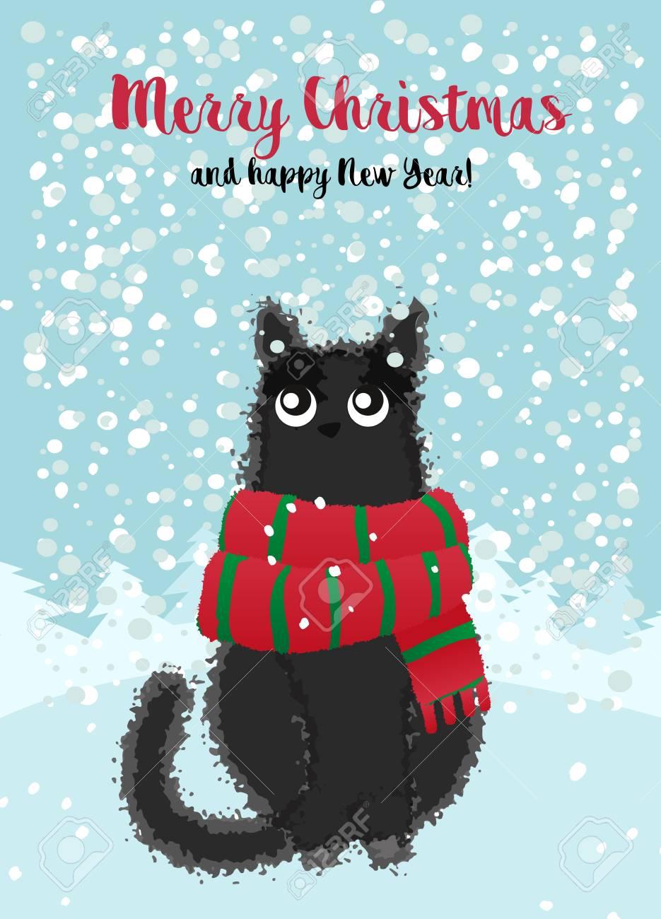 Joyeux Noel Et Bonne Année. Carte De Noël Avec Un Chat Noir Dans