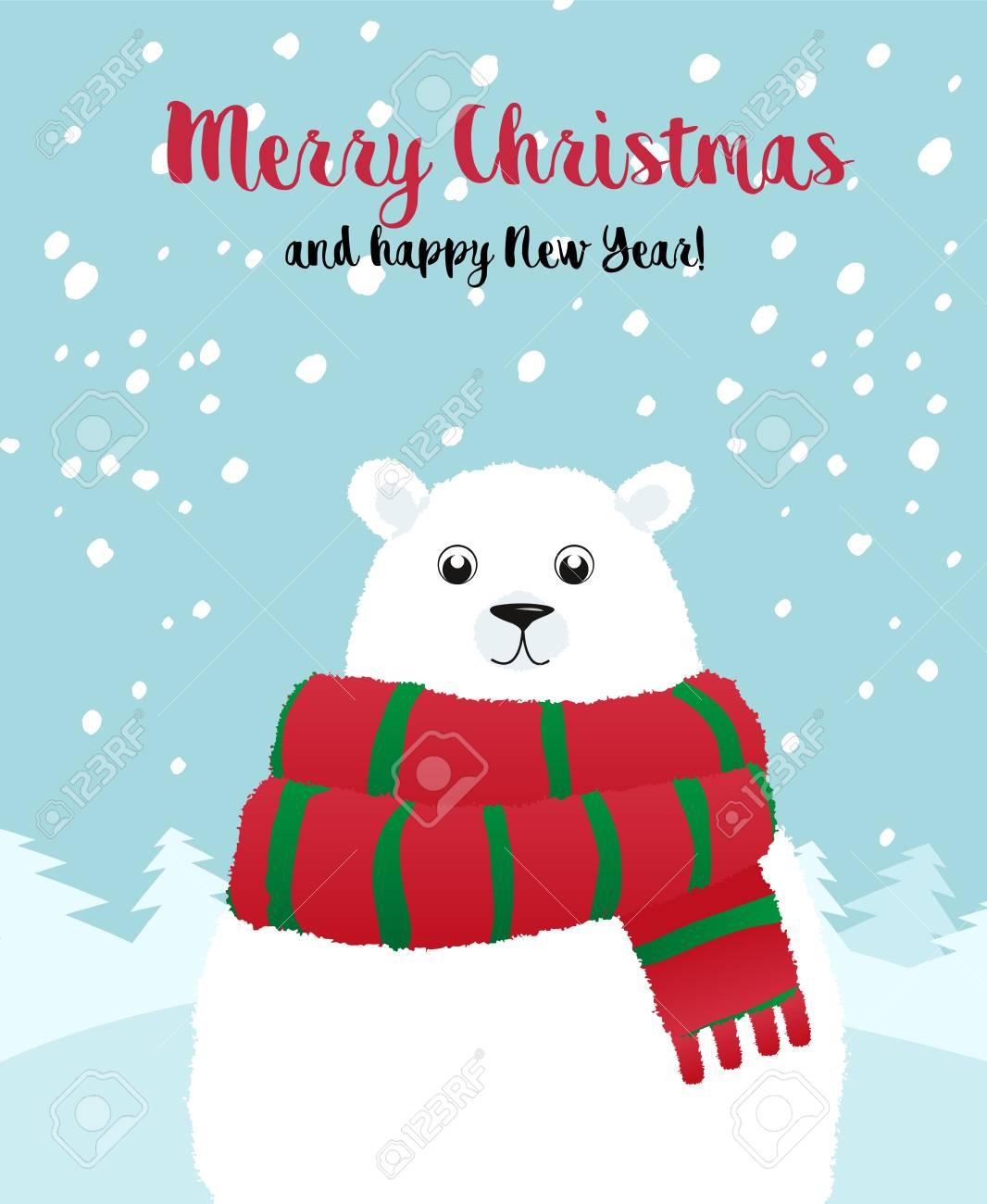 Christmas Holiday Card With A White Polar Bear. Merry Christmas ...