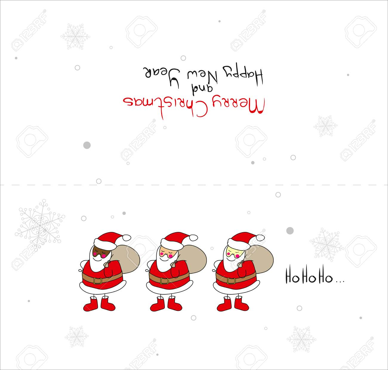 A Vector Christmas Card Template. Christmas Card With Santa Clauses ...