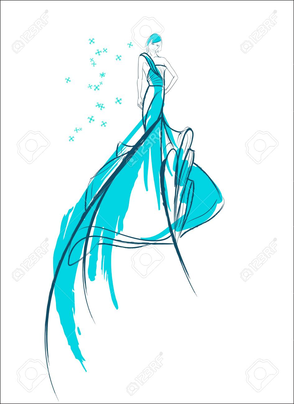 Girl In Blue Wedding Gown Sketch Design. Royalty Free Cliparts ...