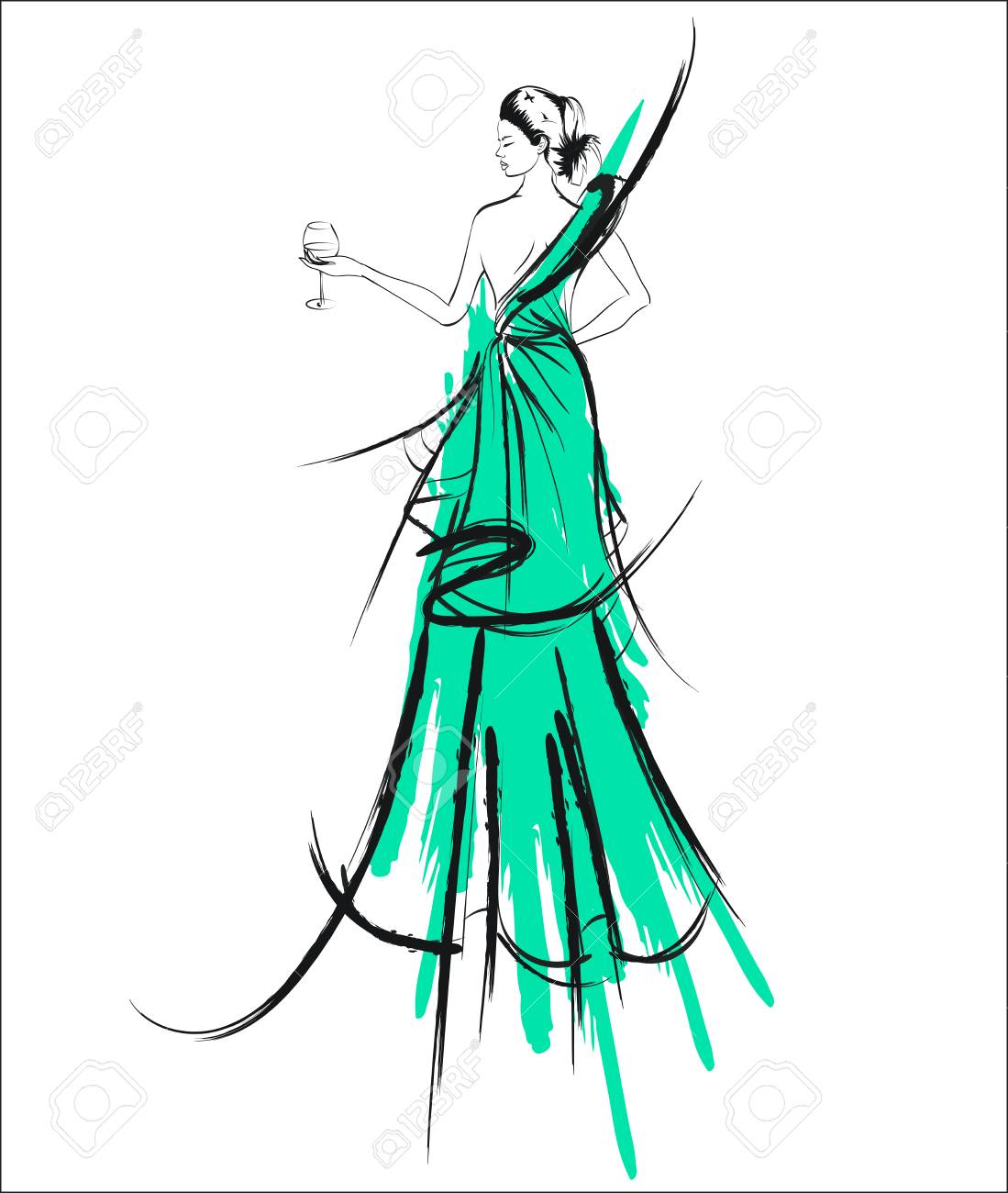 Girl In Green Wedding Gown Sketch Design. Royalty Free Cliparts ...