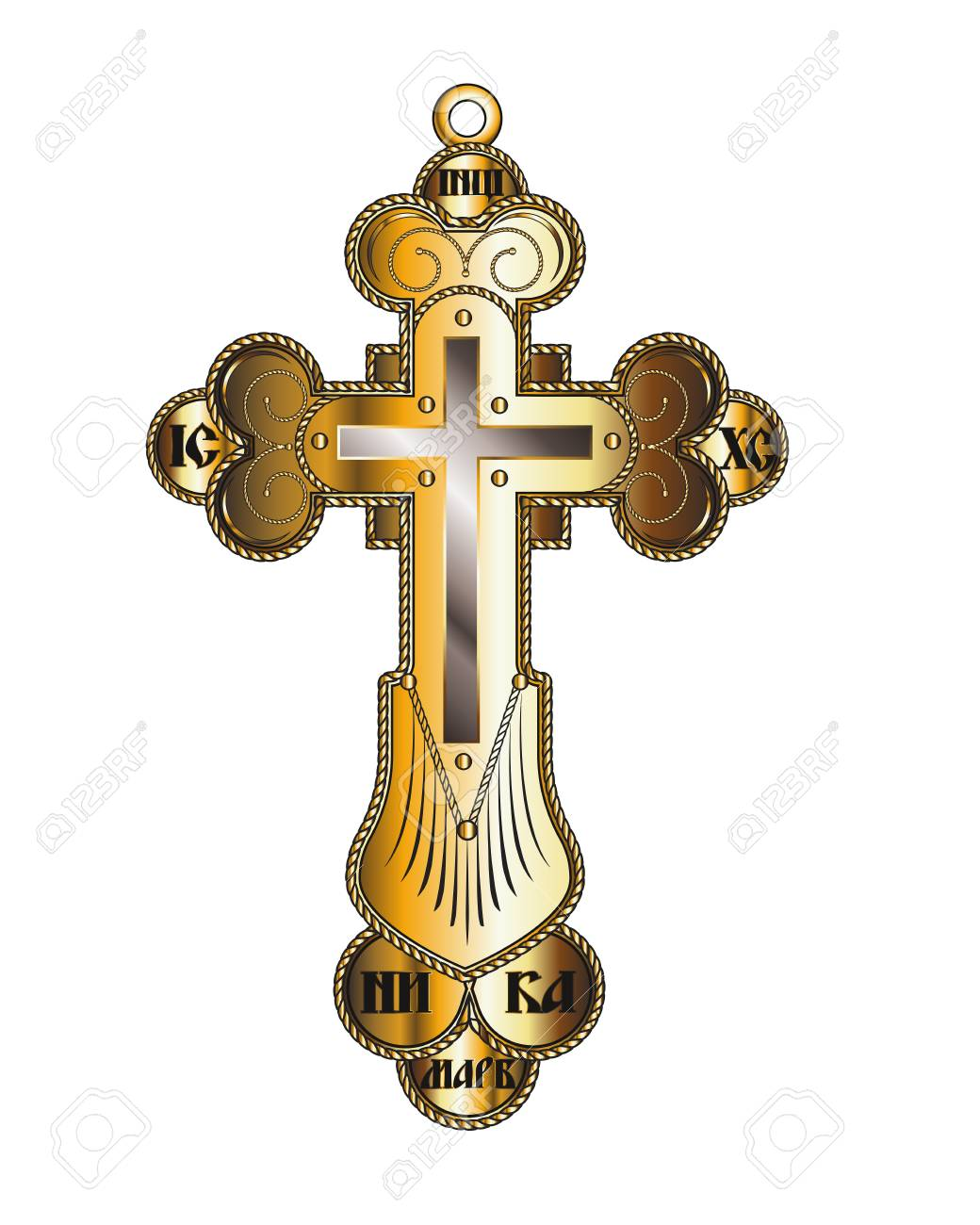Crucifixion Gold Orthodox Christian Cross Isolated On A White