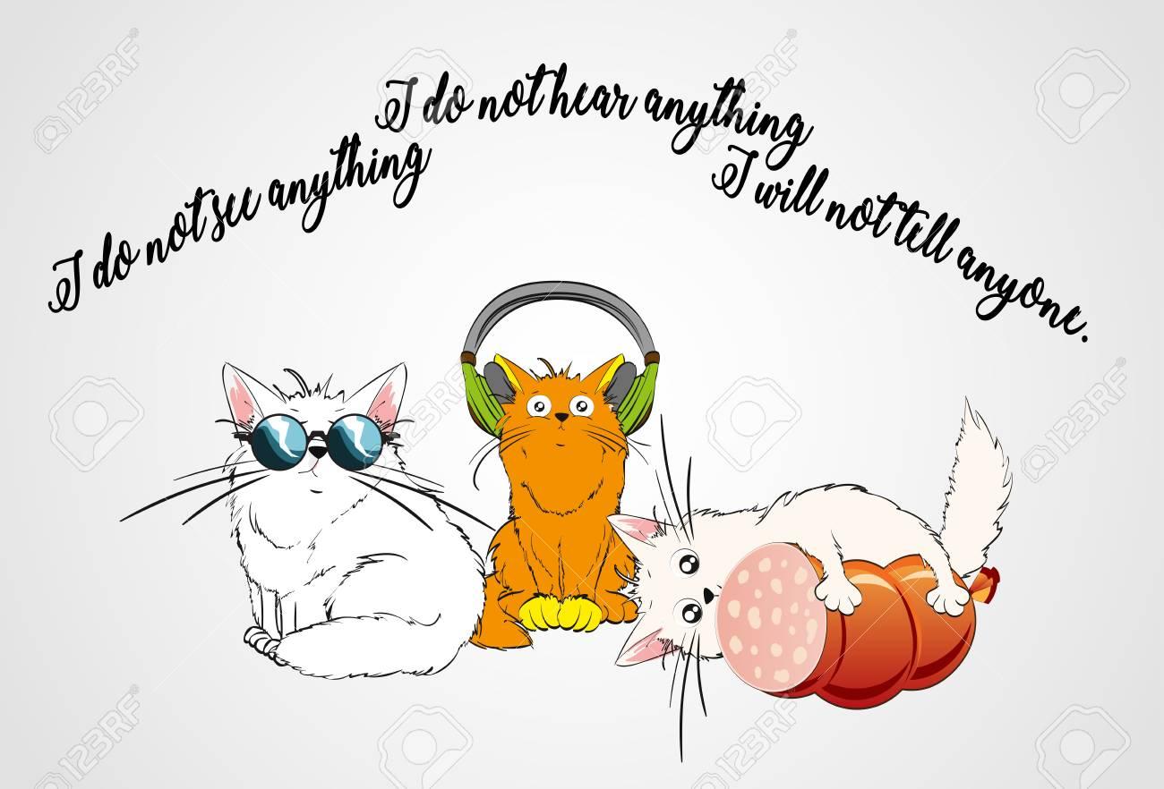 Three cute cats. I see nothing, I hear nothing, I will not tell anyone. - 98536899