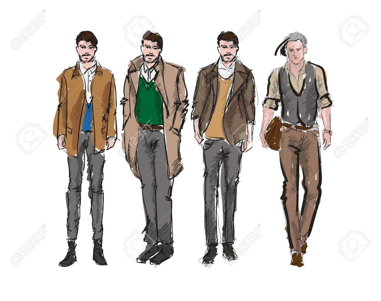 Fashion man. Set of fashiona mens sketches on a white background