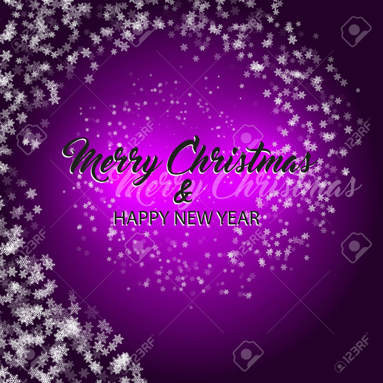 merry christmas and happy new year vector purple background stock vector 109895146