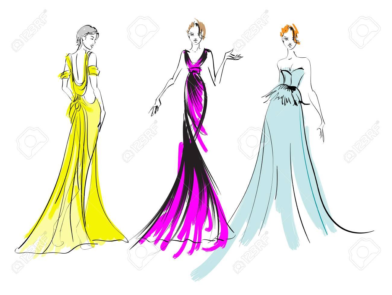 Fashion Girls Sketch Fashion Illustration Drawing Fashion Models Royalty Free Cliparts Vectors And Stock Illustration Image 113829479