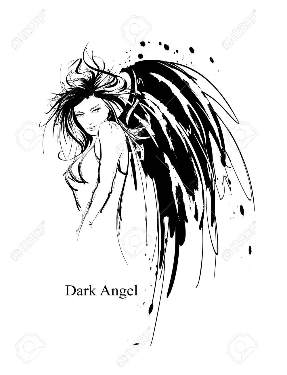 Angel girl. Dark angel. Vector image of beauty fashion angel girl. Fashion angel. - 119251525