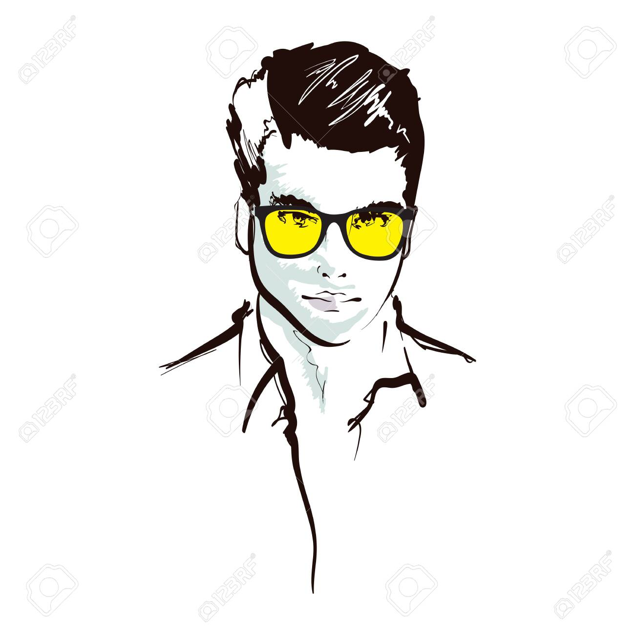 Handsome fashion men`s portrait. Man`s face. Vector doodle illustration isolated on white. Handsome fashion men`s portrait. Man`s face - 133318739