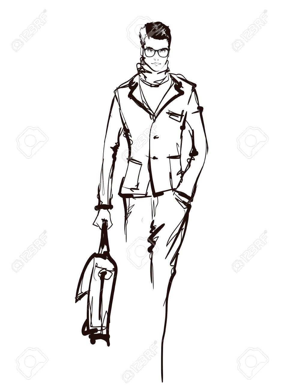 Stylish Fashion Man Stylish Handsome Man In Fashion Clothes Royalty Free Cliparts Vectors And Stock Illustration Image 136664121