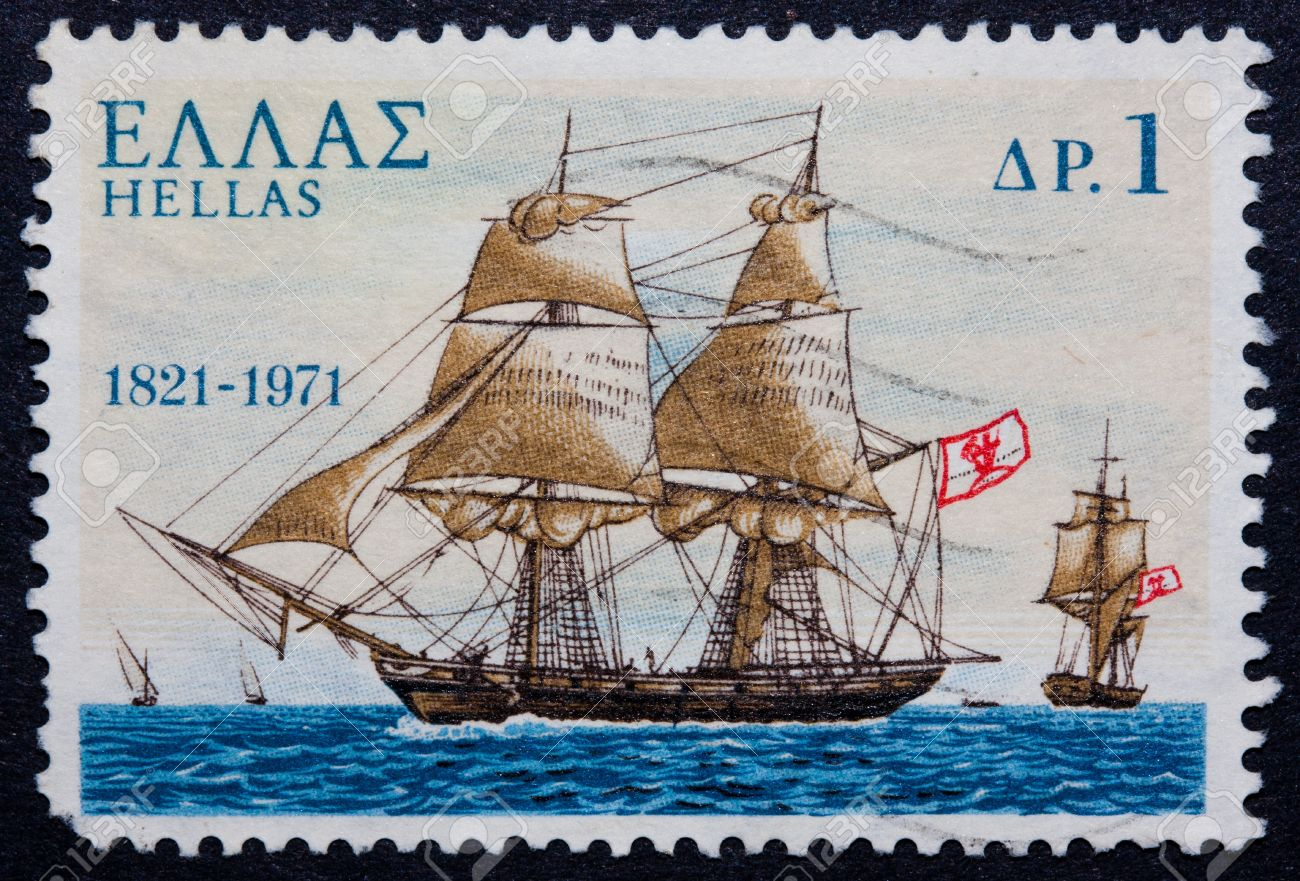 A postmarked Greek stamp showing a ship with sails Stock Photo - 10066459