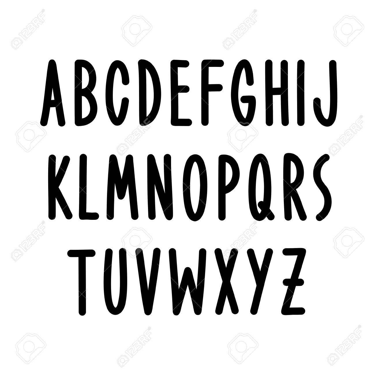 Hand Drawn Font Type Vector Alphabet Stock
