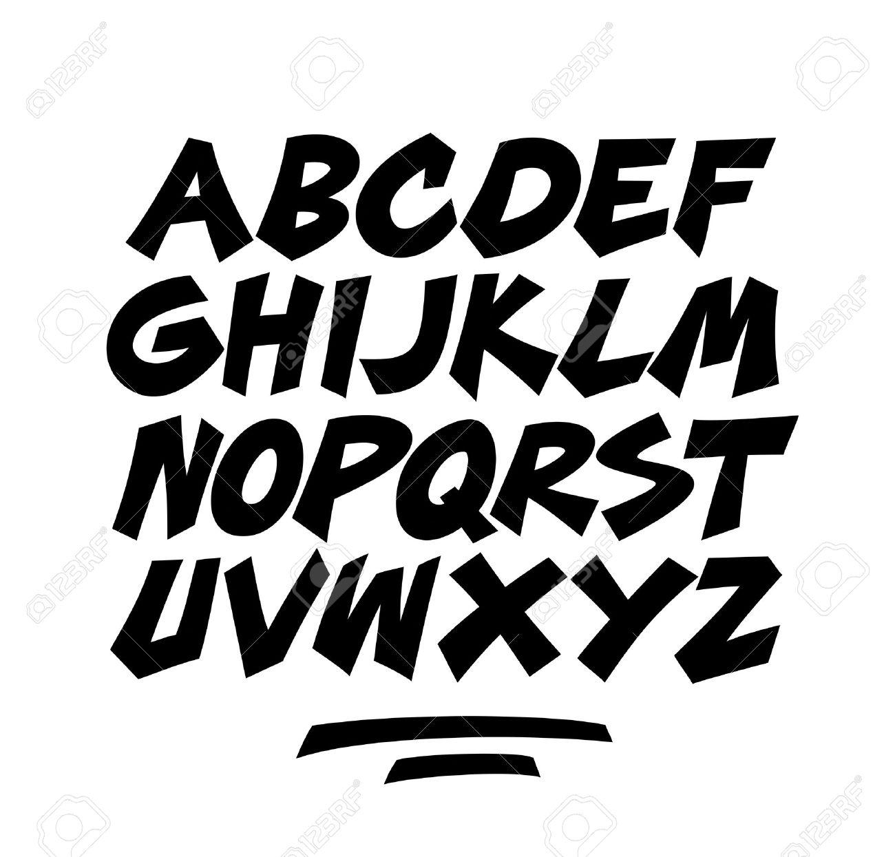 Fabuloso Cartoon Cómico Garabato De Graffiti Alfabeto Vector Fuente  TG95
