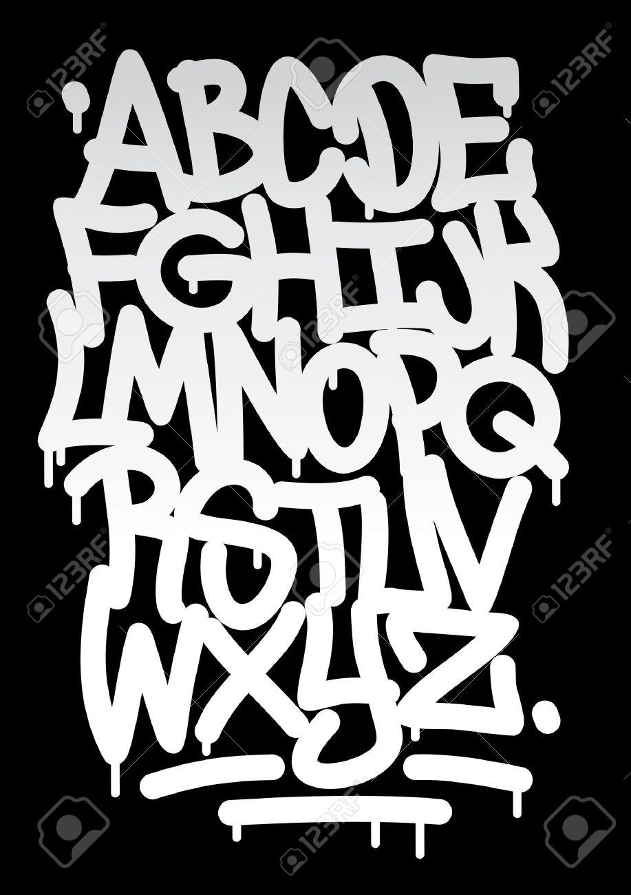 Hand Written Graffiti Font Alphabet Vector
