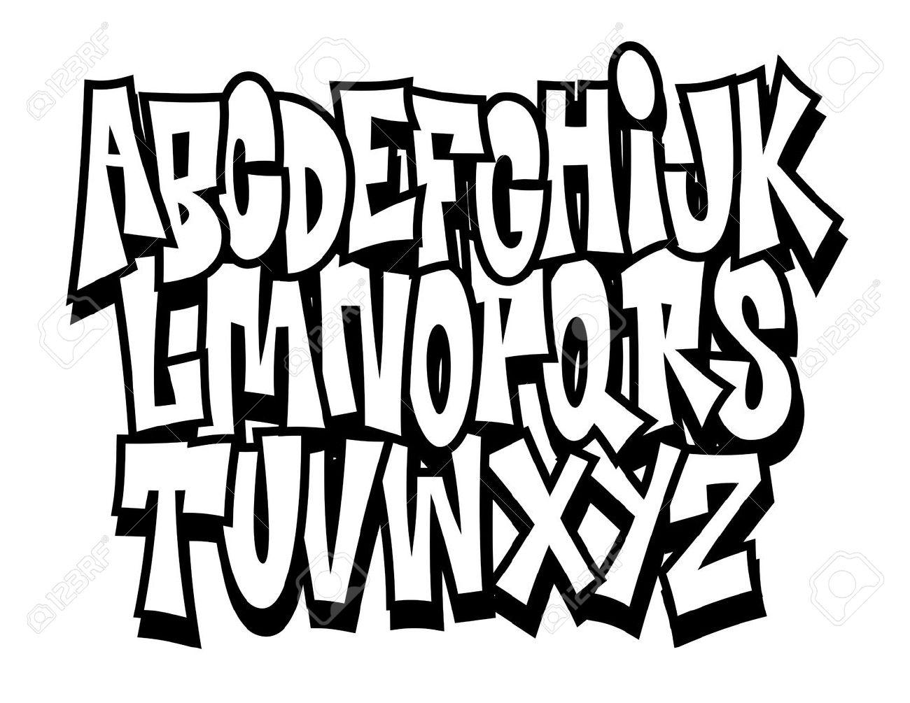 Graffiti cartoon comic doodle font alphabet vector stock vector 34219911