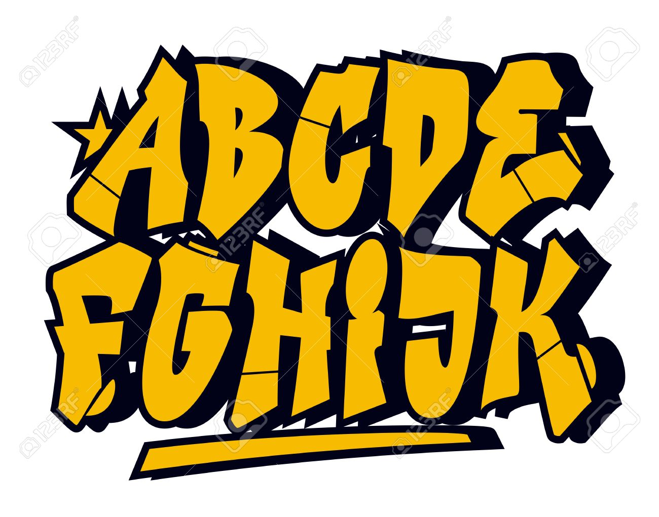 Graffiti style font type vector alphabet part 1 stock vector 36058454