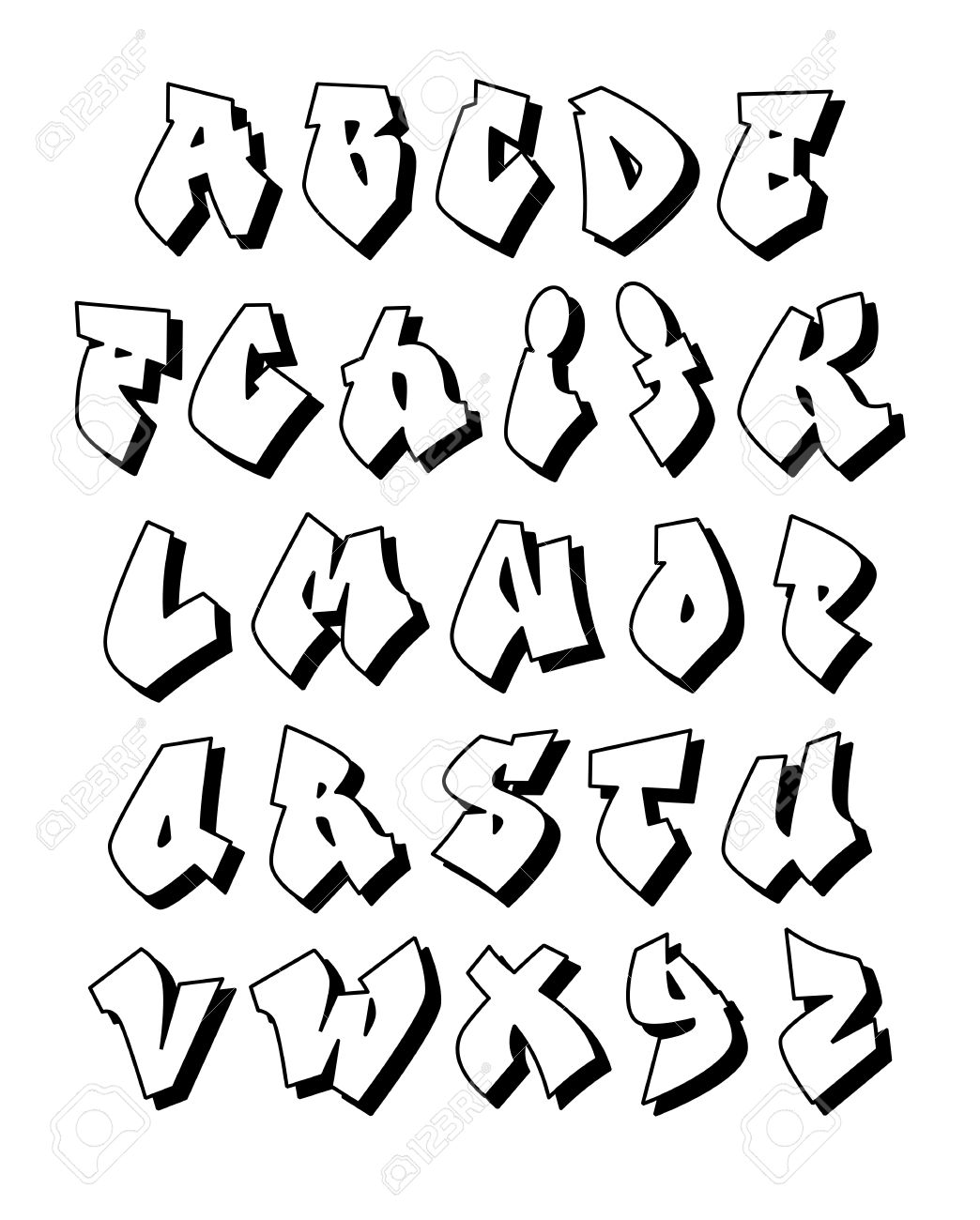 Alfabet Graffiti graffiti alphabet. vector royalty free cliparts, vectors, and stock