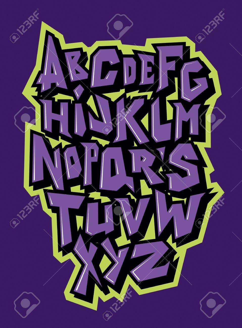 Lines comic graffiti font vector alphabet stock vector 69261292