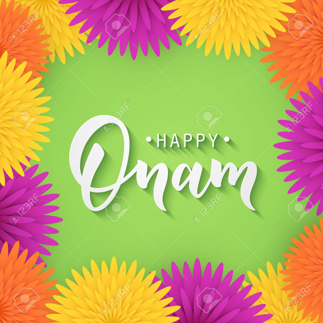 Happy Onam Greeting Lettering Royalty Free Cliparts Vectors And