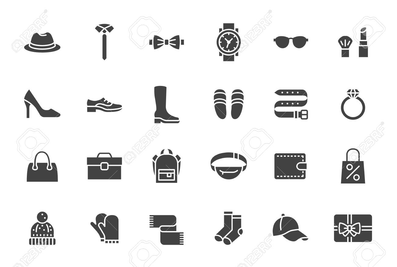 Accessory, Fashion Silhouette Icons. Vector Illustration Included Icon as Footwear, High Heels Shoes, Bow Tie, Backpack, Knitted Clothes and other Apparel Flat Pictogram for Cloth Store - 131718127