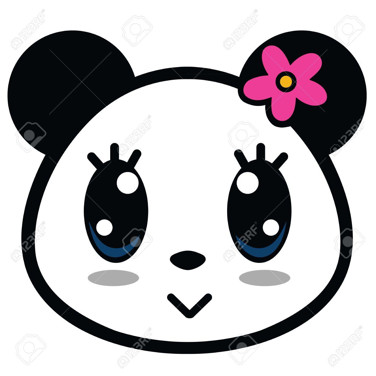 Cute Panda Girl With Big Eyes Cartoon Vector - 60744772