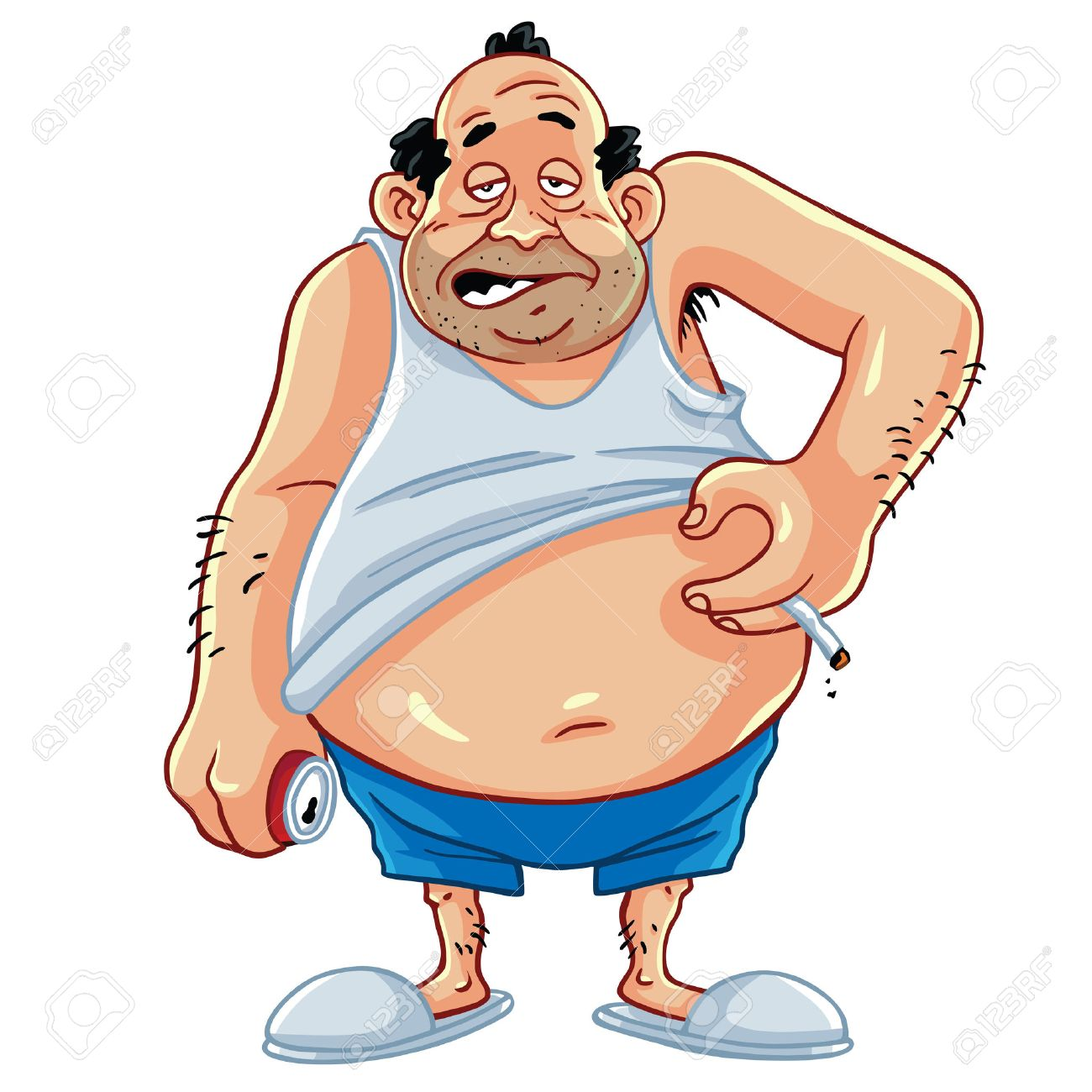 fat man smoking and drinking coke character design royalty free rh 123rf com Fat Guy Eating Cartoon Fat Guy Exercising Clip Art