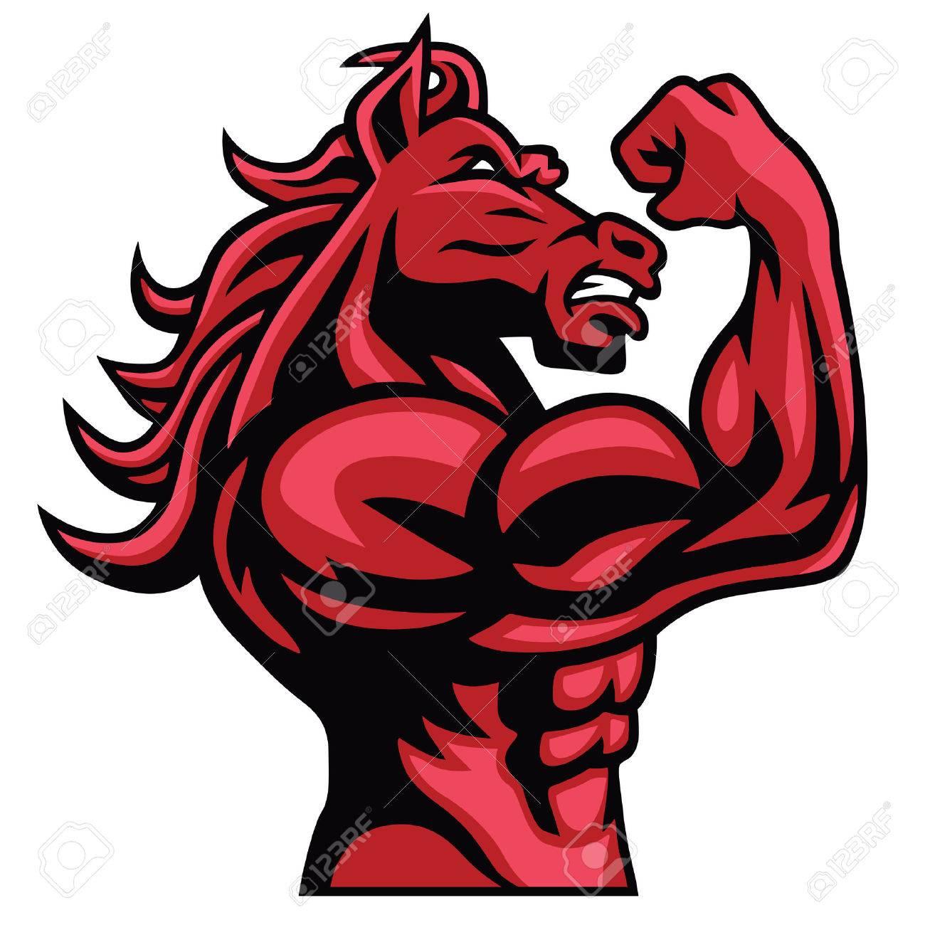 Red Horse Bodybuilder Posing His Muscular Body - 62619977