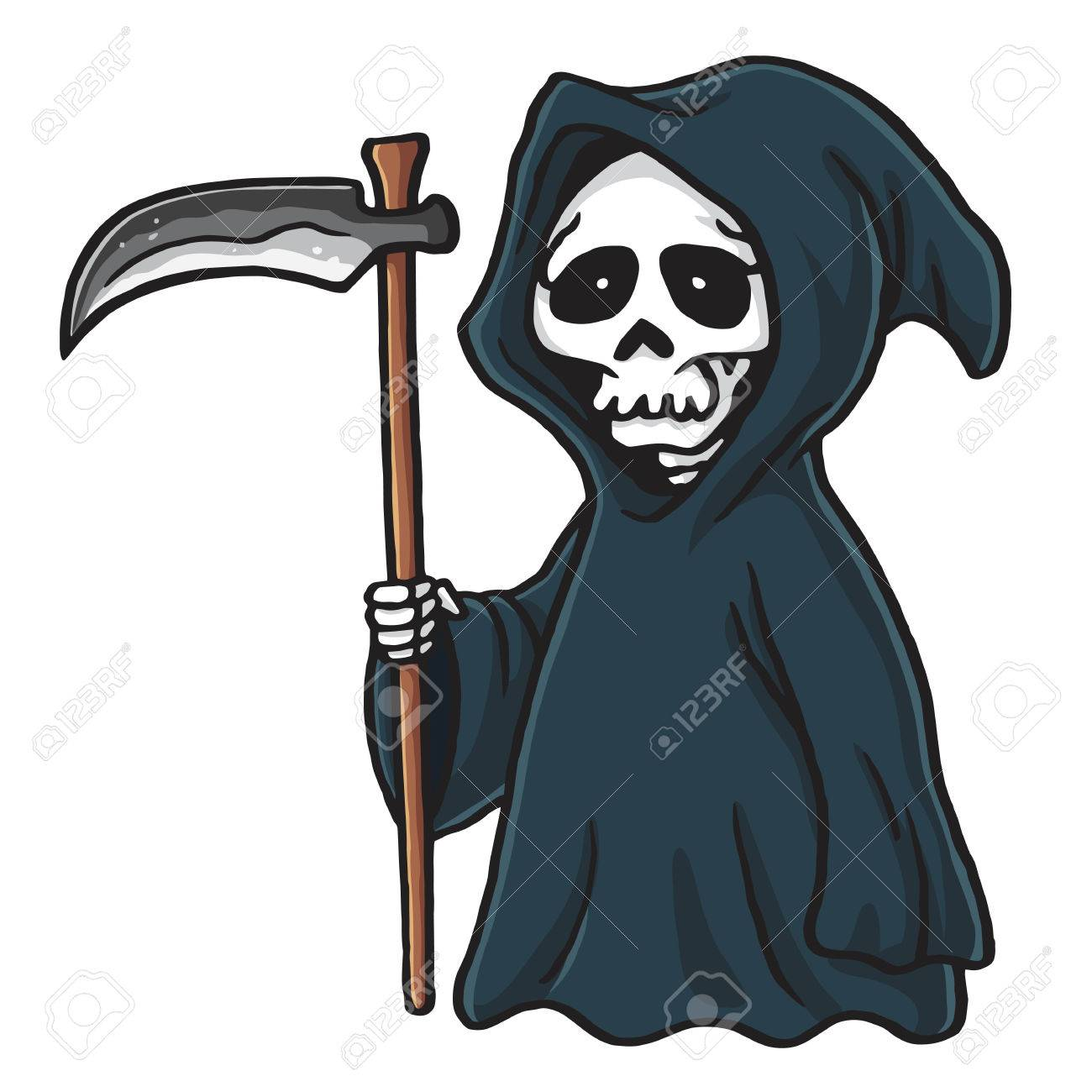 grim reaper cute cartoon skeleton halloween vector illustration rh 123rf com  grim reaper clipart black and white