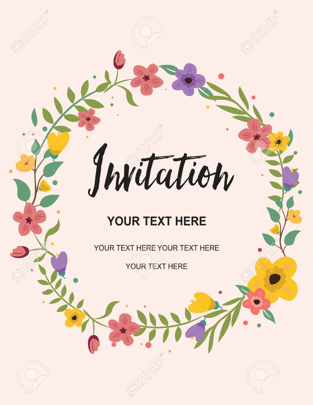 Wedding Invitation Greeting Card Circle Vector Background Template