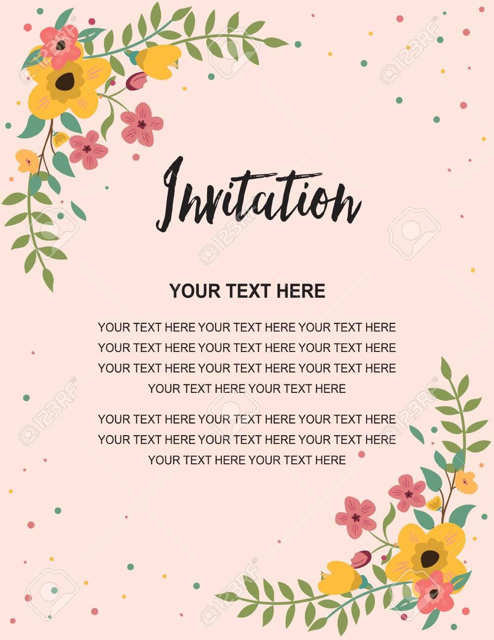Wedding Invitation Greeting Card Template Vintage Floral Design