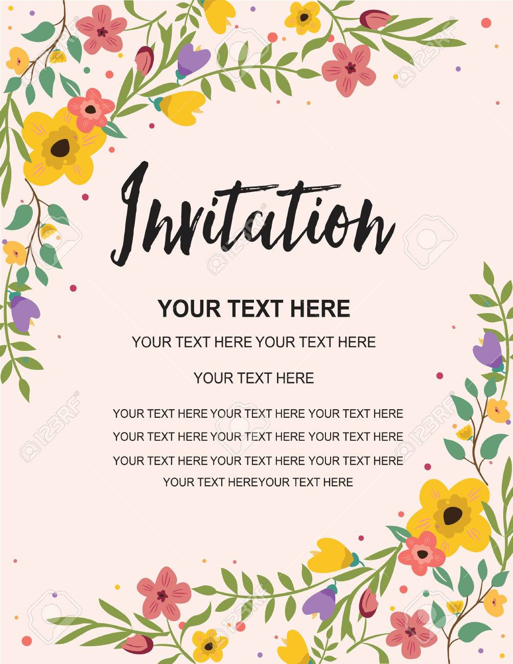 Anniversary Party Invitation Card Template Colorful Floral Illustration