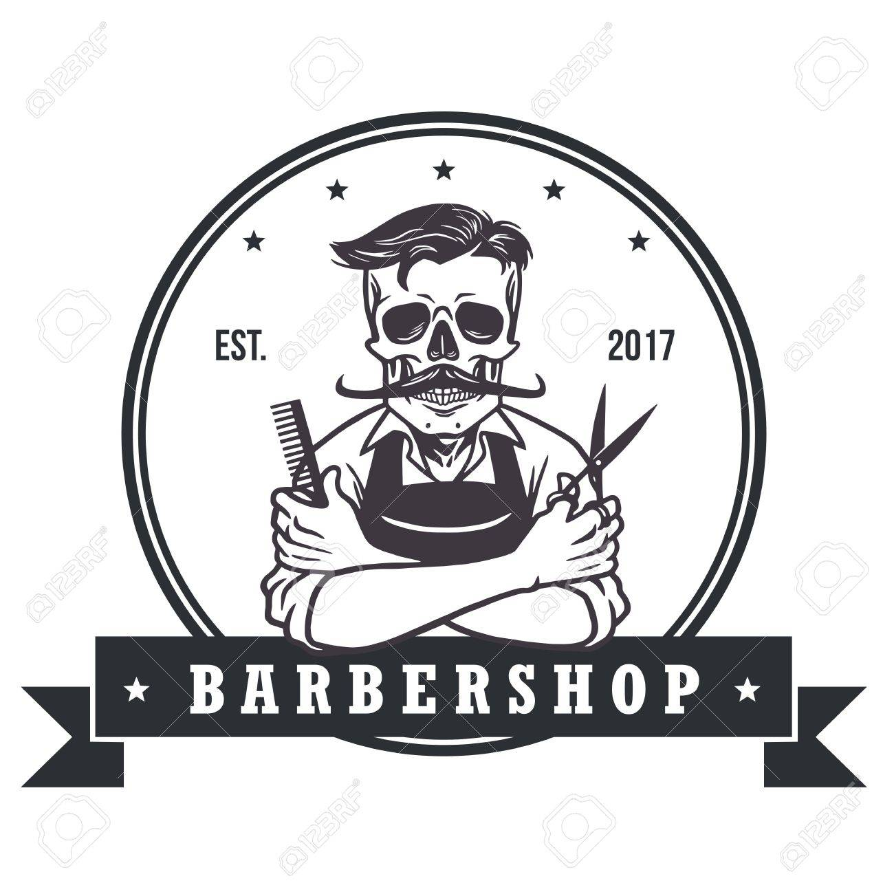 skull vintage barbershop logo template royalty free cliparts
