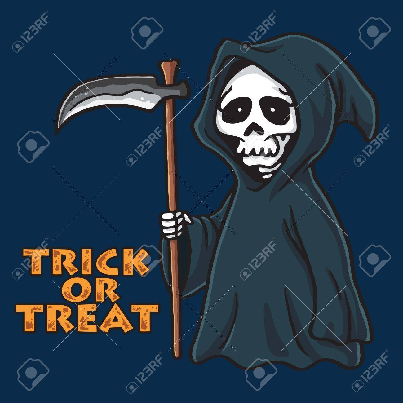 grim reaper halloween card invitation design template royalty free