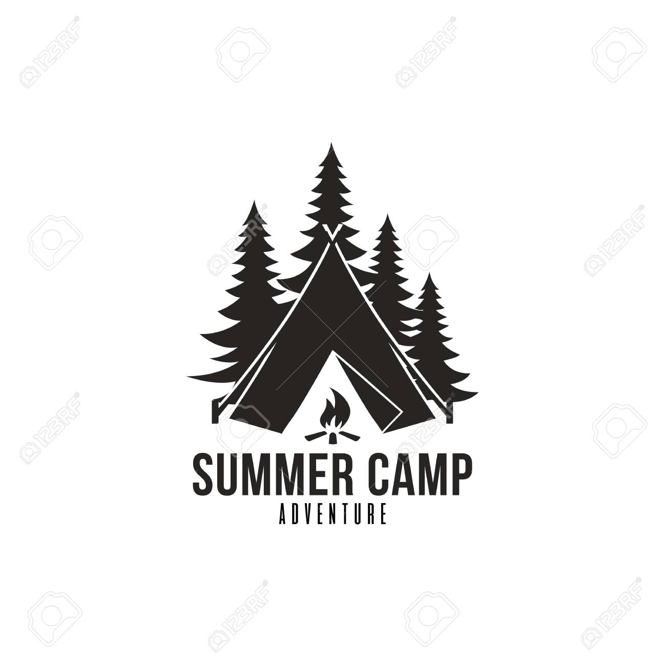 Forest Adventure Summer Camp Black And White Badge Vector Logo