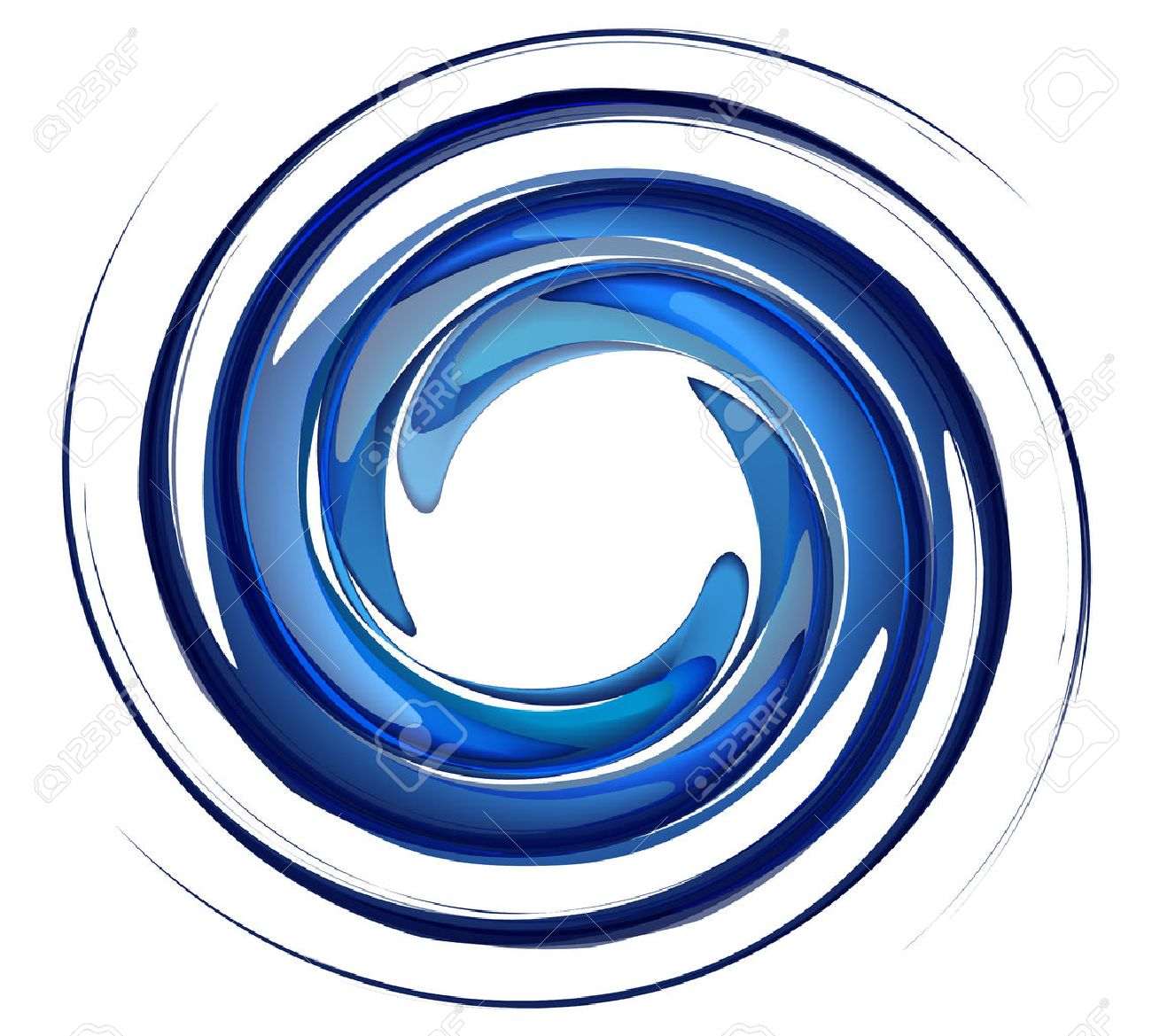 Isolated water vortex on white background, blue rotation water, whirlpool vector,water splash in round shape. - 25432876