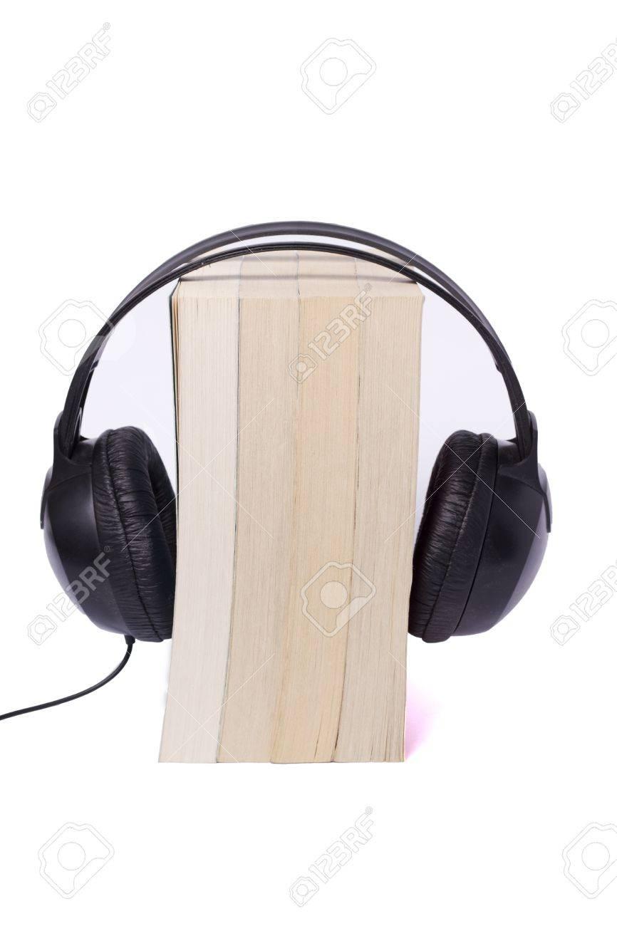 books on white background, black headphone audio books Stock Photo - 10980888