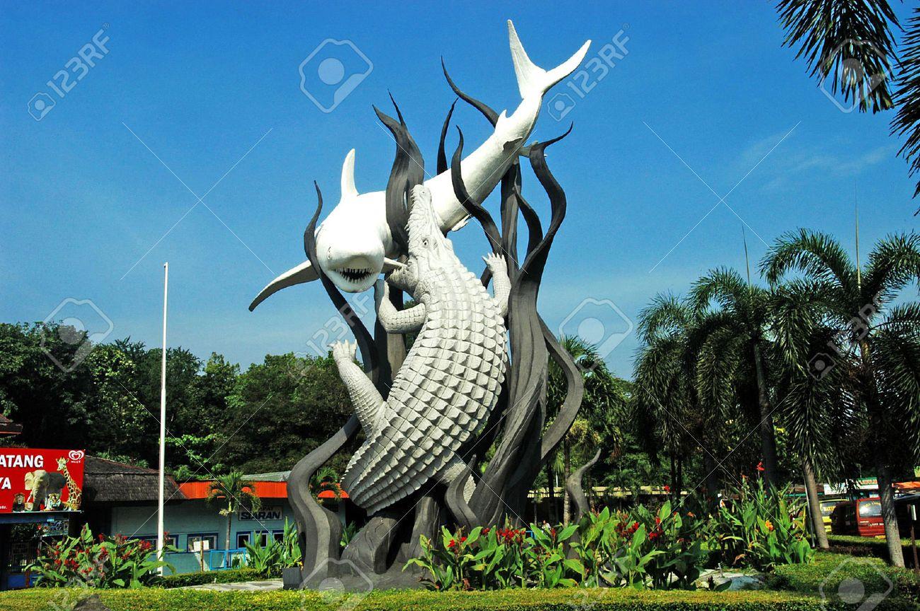 suroboyo monument in front of the surabaya zoo east java indonesia