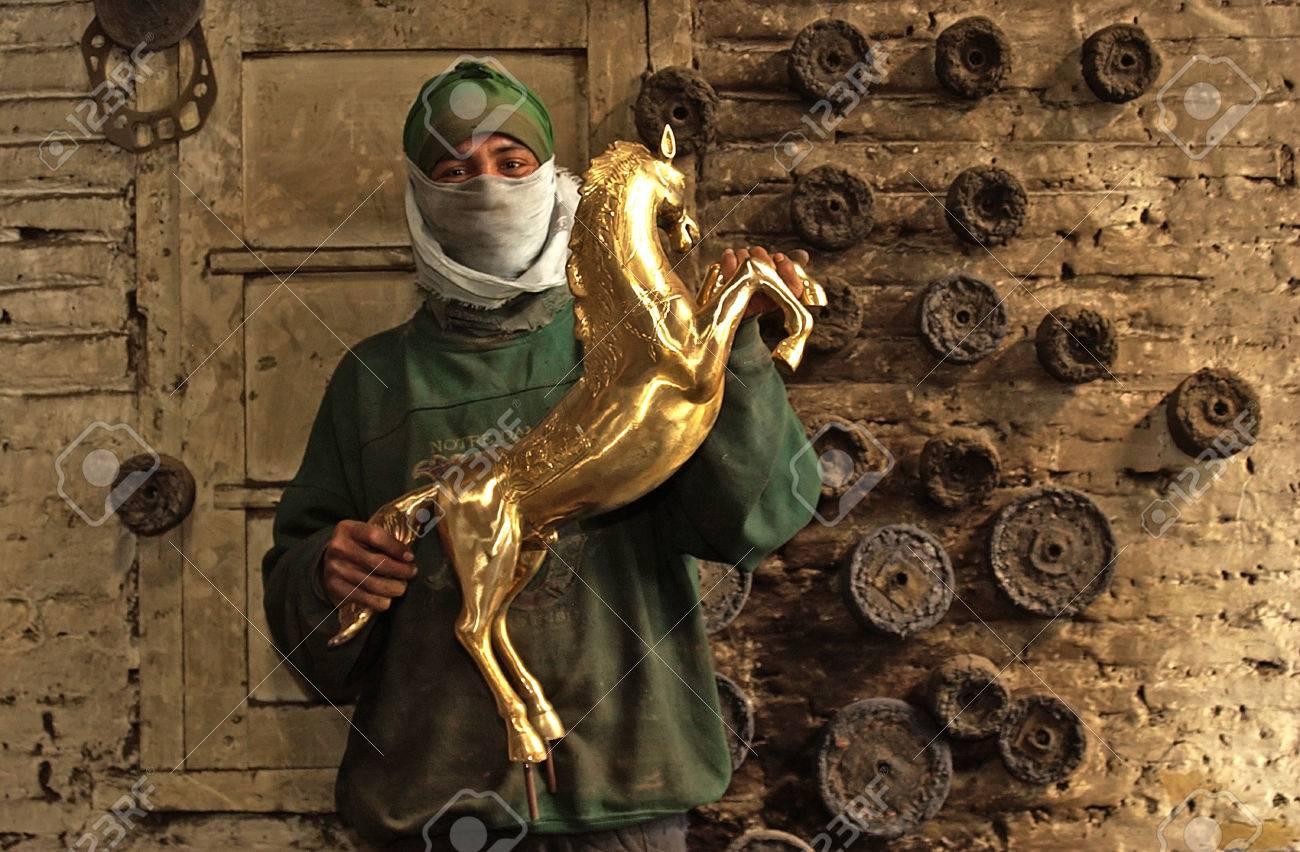 Craftsman Holding A Brass Handicrafts Brass Handicrafts Center
