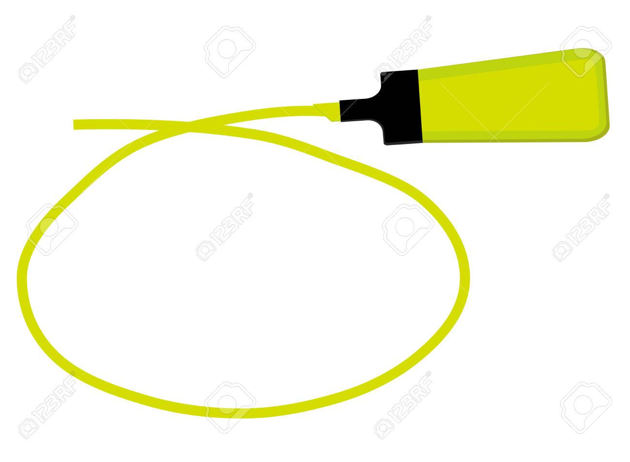 single yellow highlighter pen with hand drawn yellow circle to