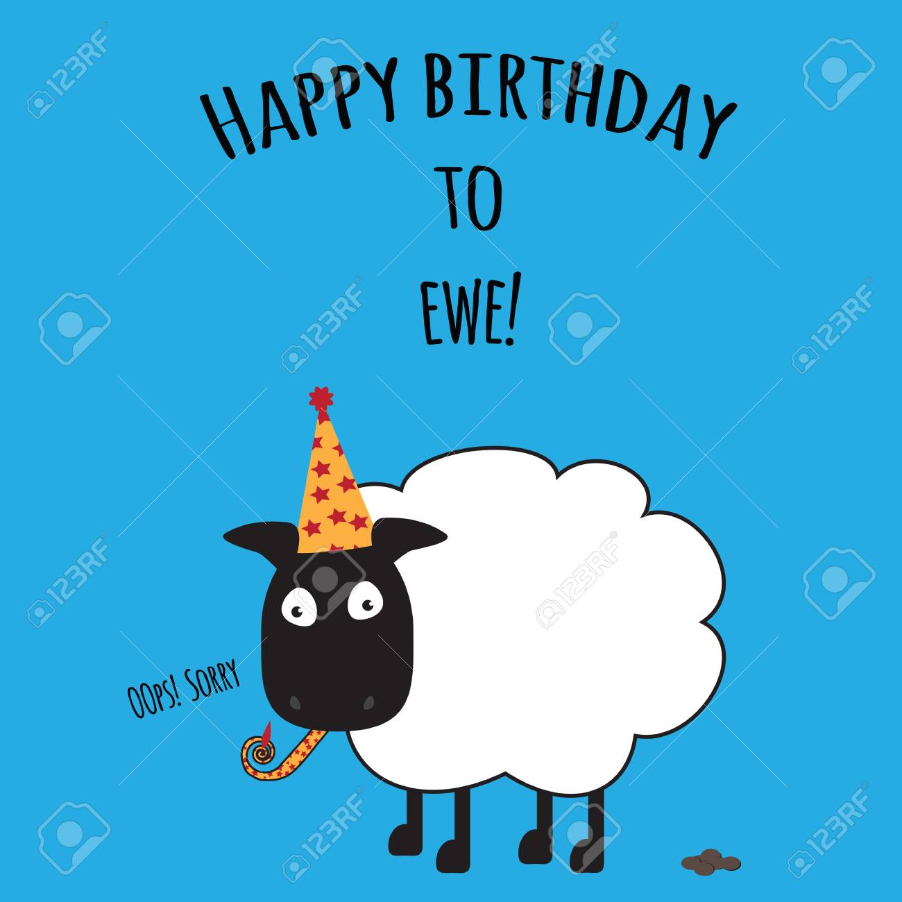 Birthday Card With Happy Birthday To Ewe With Cute Sheep Image