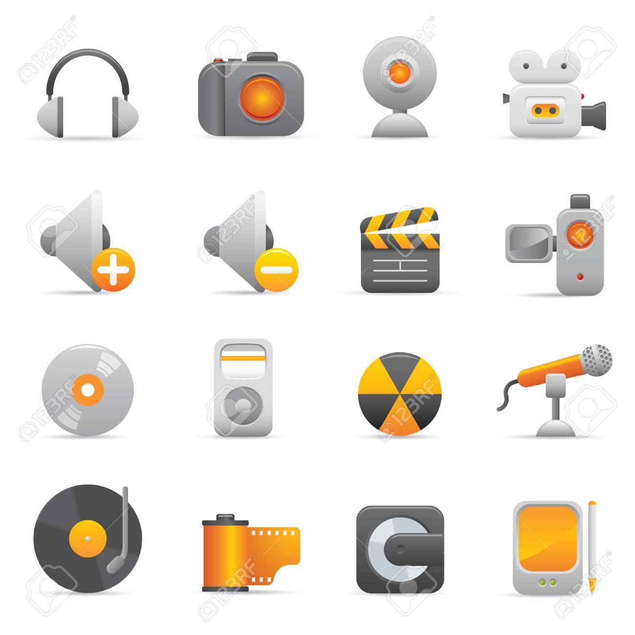 Multimedia Icons | Yellow 08 Professional icons for your website, application, or presentation Stock Vector - 7669819