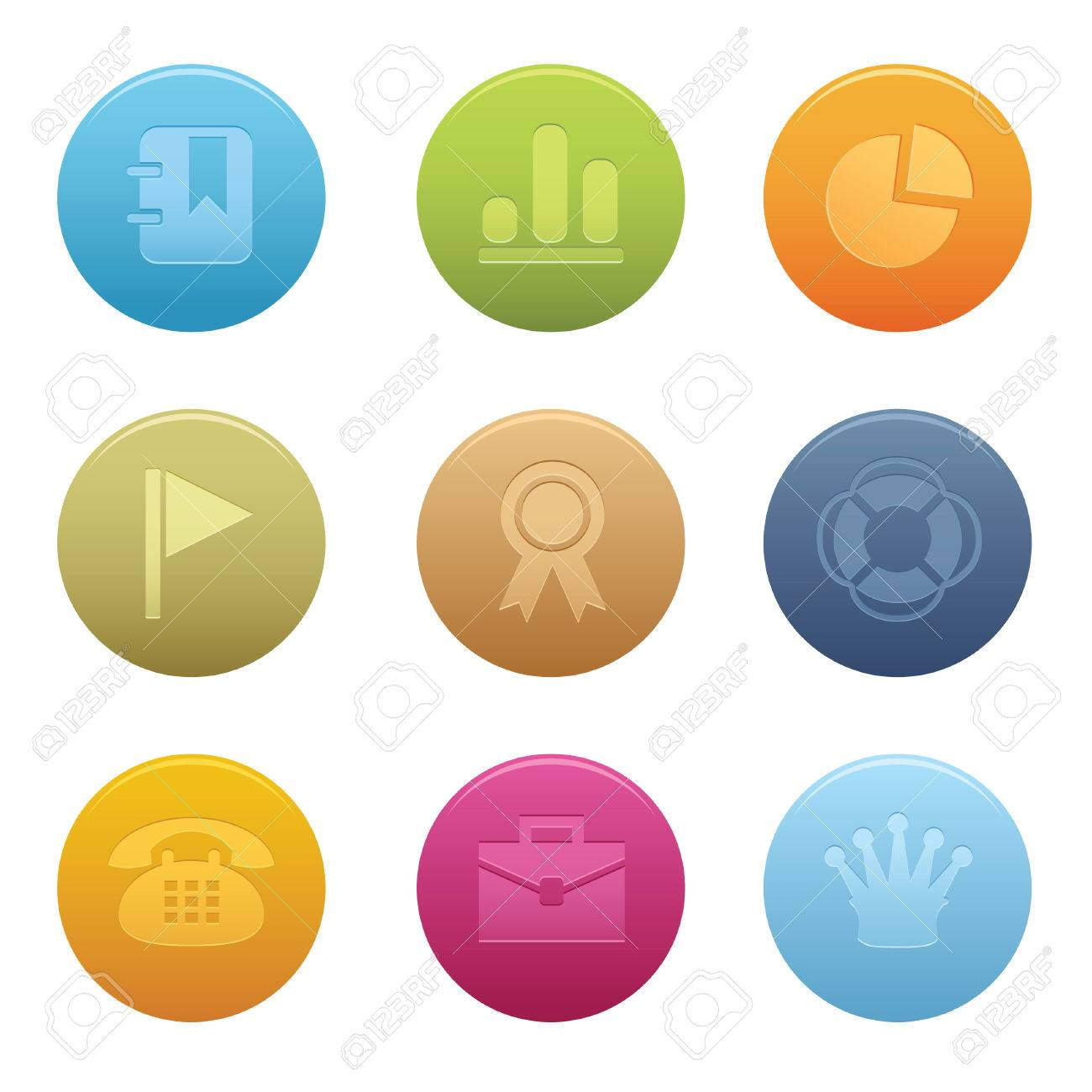 Colors for professional website - 04 Circle Office Icons Professional Set For Your Website Application Or Presentation The