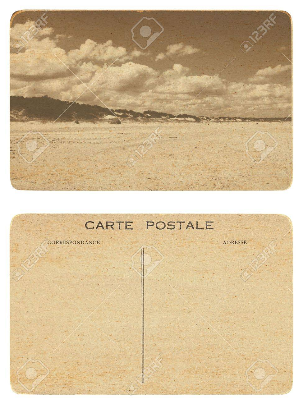 12 Old Postcard Front And Back Of With Picture A Beach Stock Photo