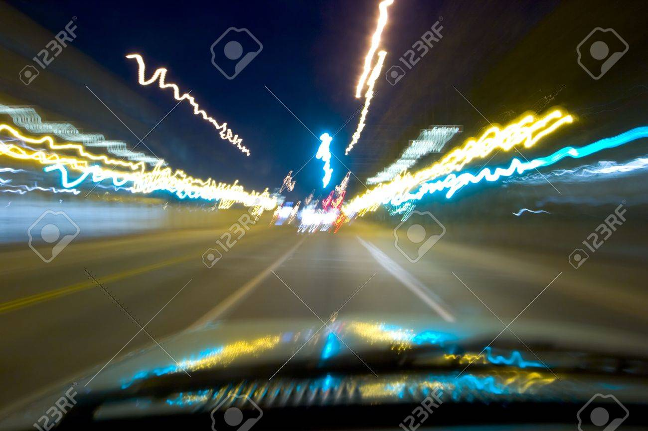 Blurred lights captured while driving at night Stock Photo - 258796