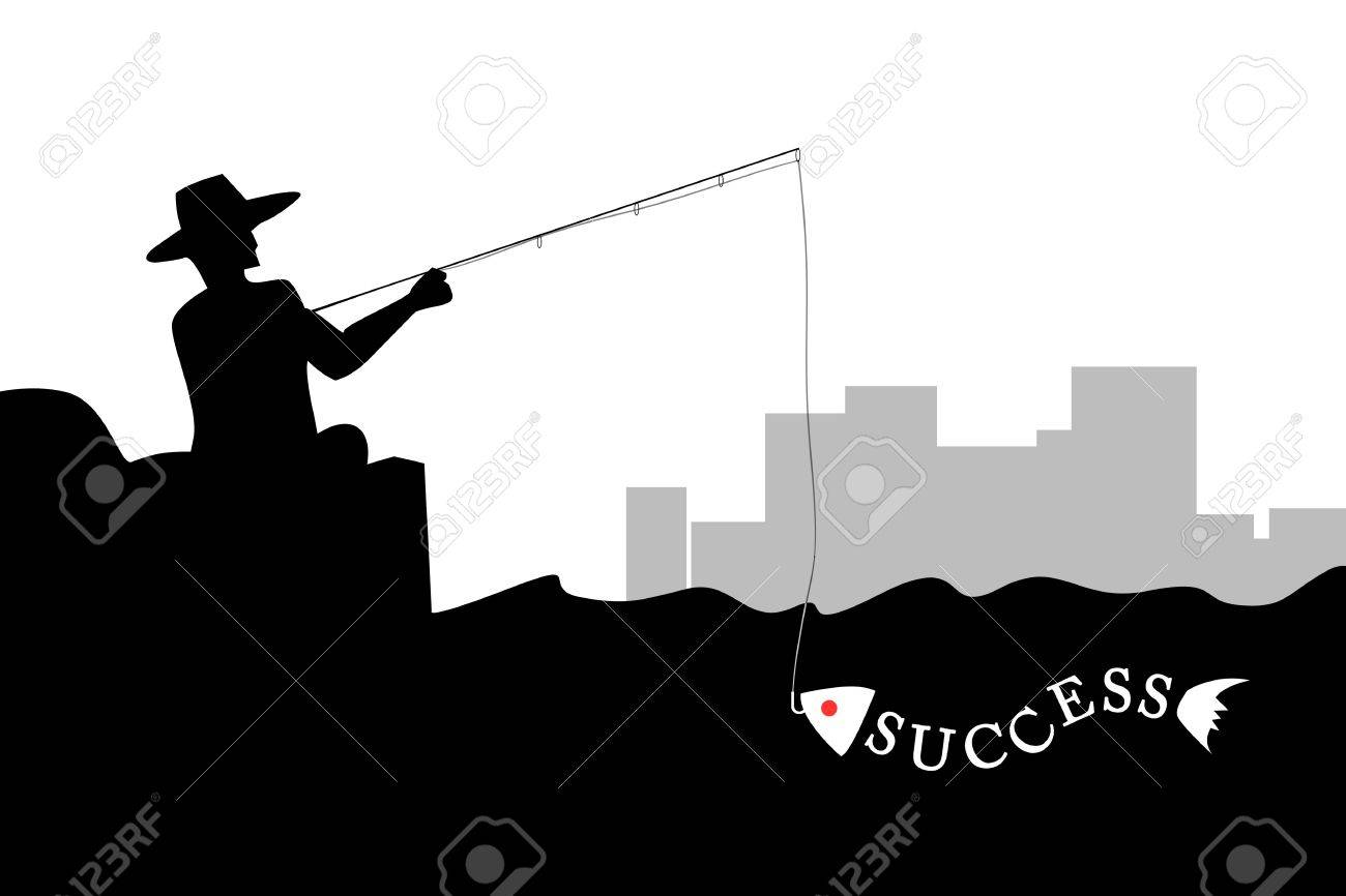 Man fishing the success fish in silhouette Stock Photo - 11255643